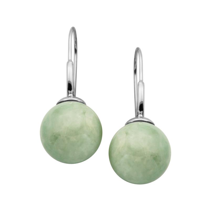 Jade of Yesteryear Sterling Silver Green Jade Bead Drop Earrings