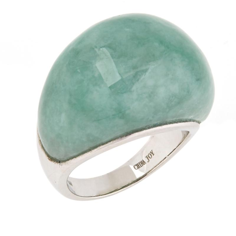 Jade of Yesteryear Sterling Silver Green Jade Dome Ring