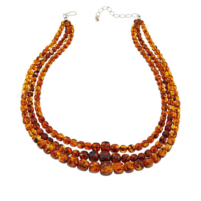 """Jay King 18-1/4"""" Sterling Silver 3-Strand Amber Bead Necklace"""