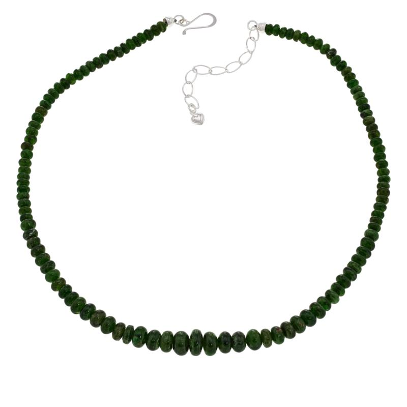 """Jay King 18"""" Sterling Silver Chrome Diopside Graduated Bead Necklace"""