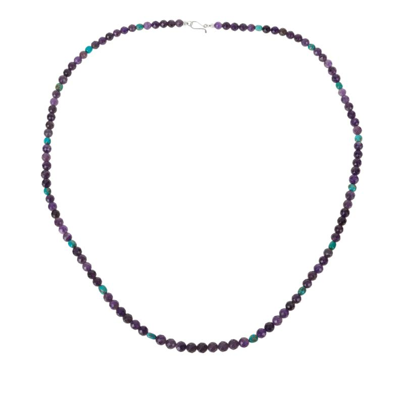 """Jay King 36"""" Amethyst and Andean Blue Turquoise Bead Necklace"""