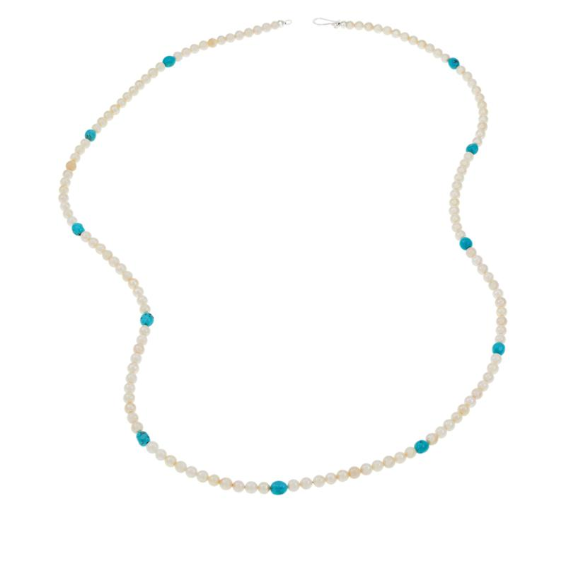 """Jay King 36"""" Cultured Pearl and Blue Turquoise Bead Necklace"""