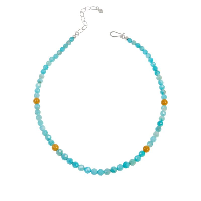 Jay King Amazonite and Butterscotch Amber Bead Necklace