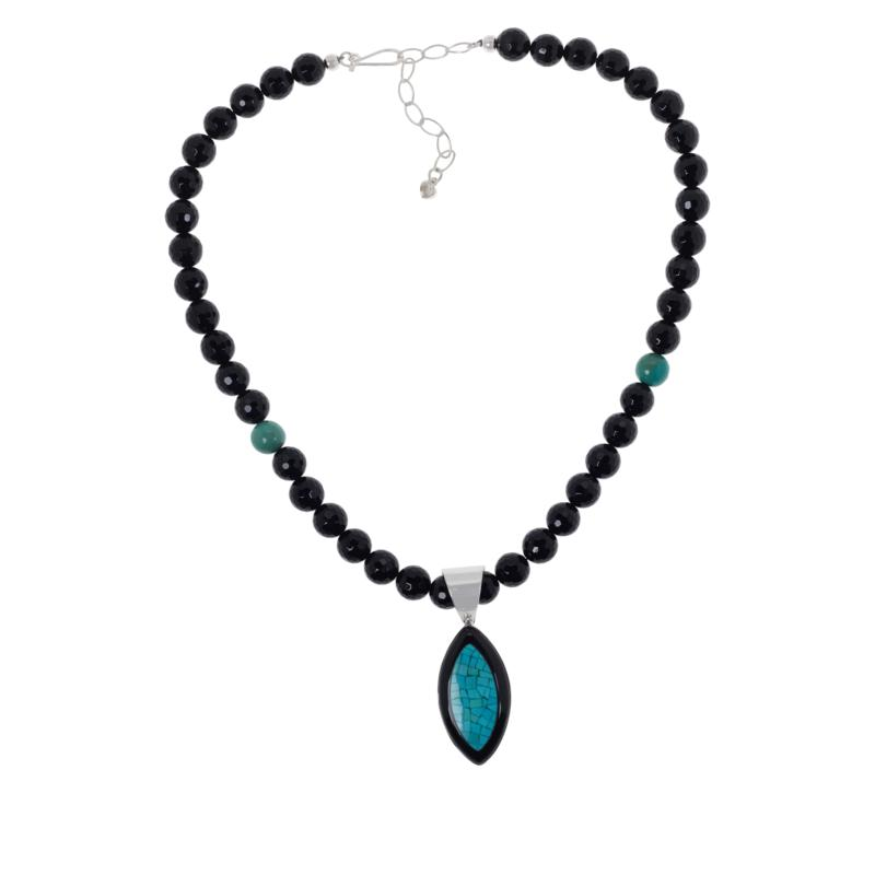 Jay King Black Chalcedony and Turquoise Mosaic Pendant with Necklace