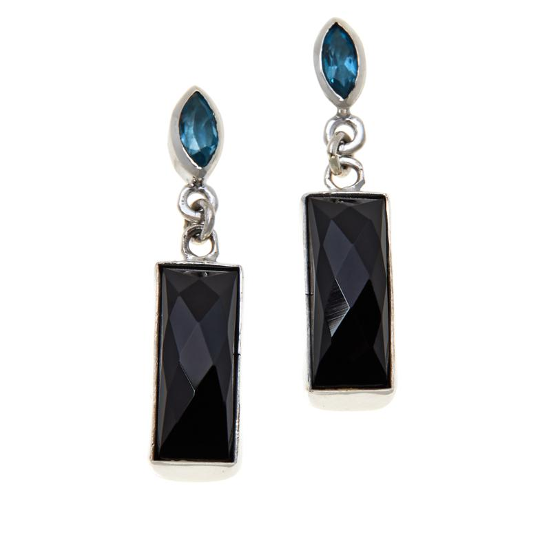 Jay King Blue Topaz and Midnight Chalcedony Drop Earrings