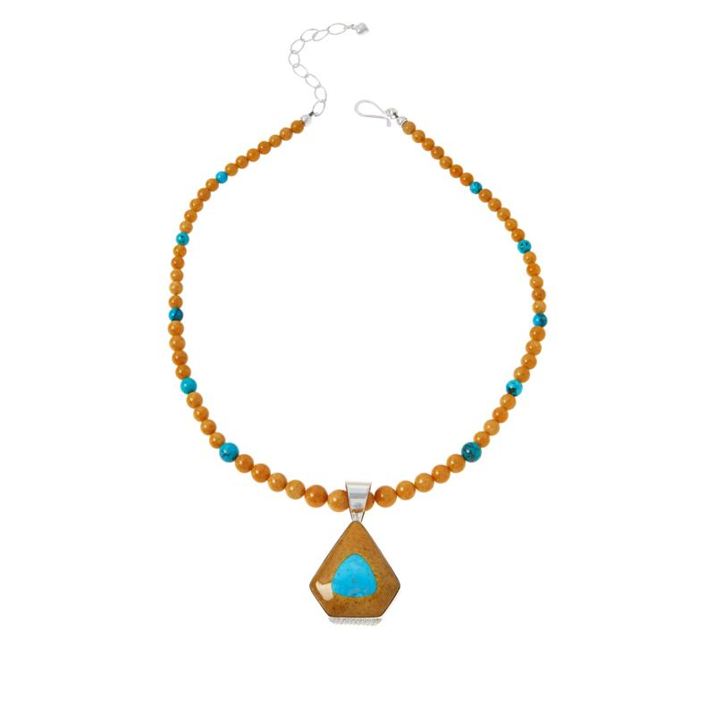 Jay King Butterscotch Amber and Turquoise Pendant with Necklace