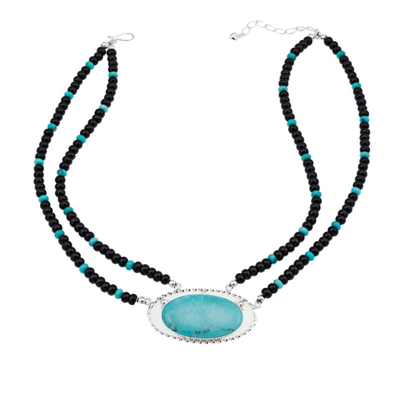 "Jay King Campitos Turquoise and Black Agate Bead 18-1/4"" Necklace"