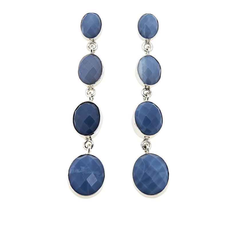Jay King Dream Blue Opal 4-Stone Oval Drop Sterling Silver Earrings