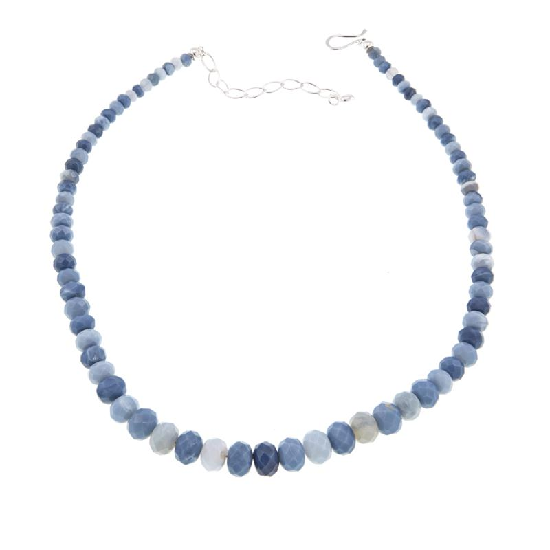"""Jay King Dream Blue Opal Bead 18"""" Sterling Silver Necklace"""