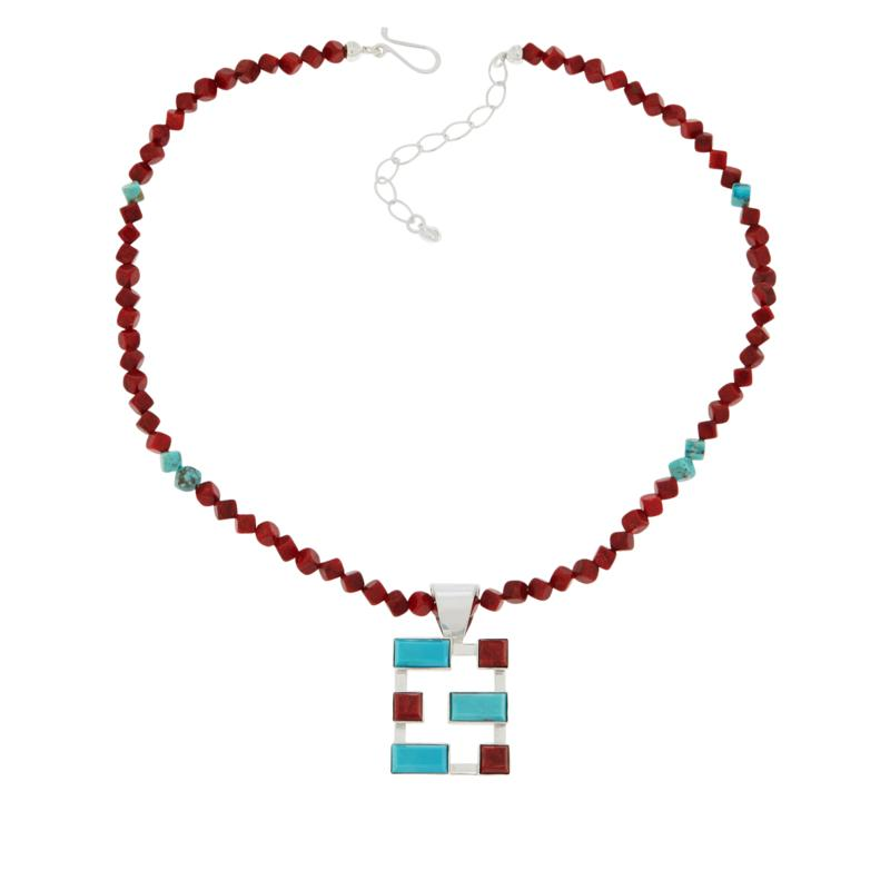 Jay King Gallery Collection Red Coral and Turquoise Pendant & Necklace