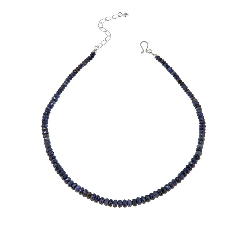 "Jay King Graduated Blue Sapphire Bead Sterling Silver 18"" Necklace"