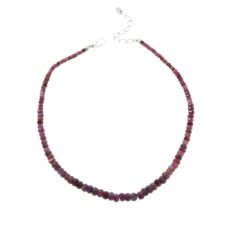 Jay King Lilac Sapphire Graduated Rondelle Beaded Necklace