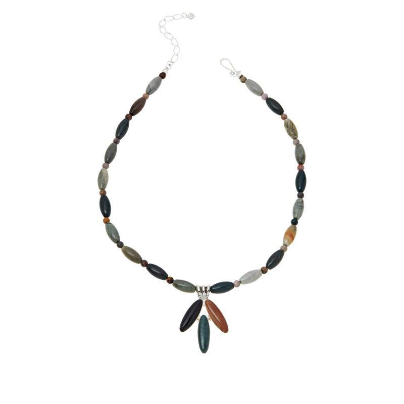 Jay King Multi-Color Petrified Wood Pendant with Bead Necklace