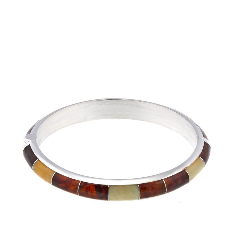Jay King Multicolored Amber Inlay Hinged Bangle Bracelet - M/L