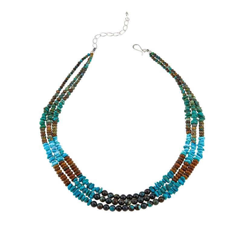"""Jay King Multicolored Turquoise and Gem Sterling Silver 18"""" Necklace"""
