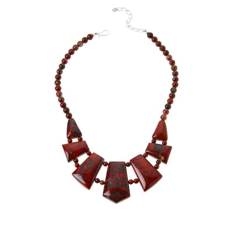 Jay King Red Flower Stone Double-Strand Bib Necklace