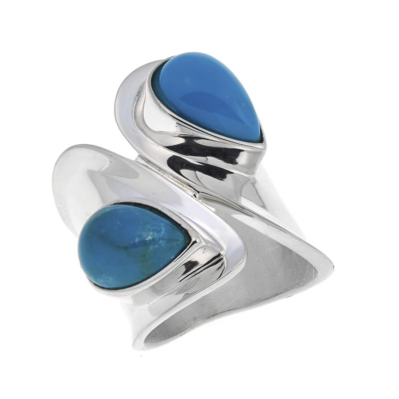 Jay King Redskin Turquoise Sterling Silver Bypass Ring