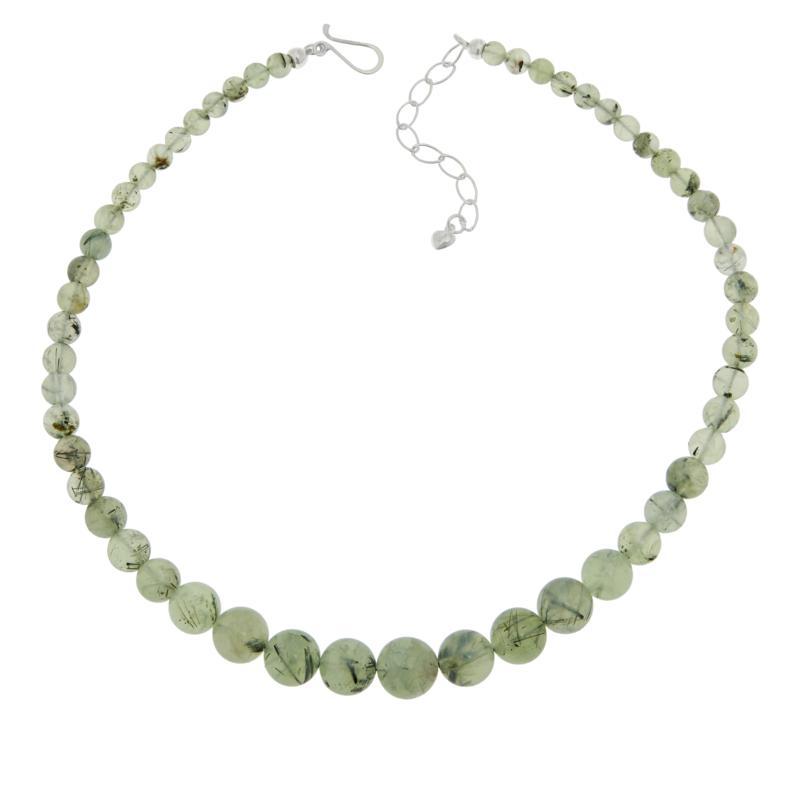 Jay King Rutilated Green Prehnite Graduated Bead Necklace