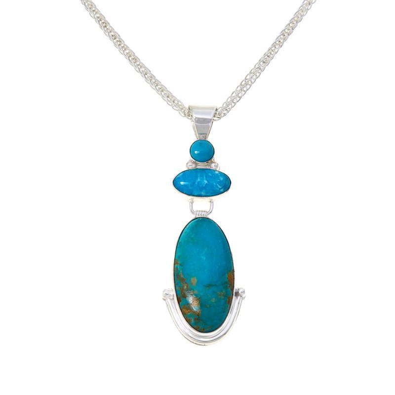 Jay King Sleeping Beauty and Kingman Turquoise Pendant with Chain