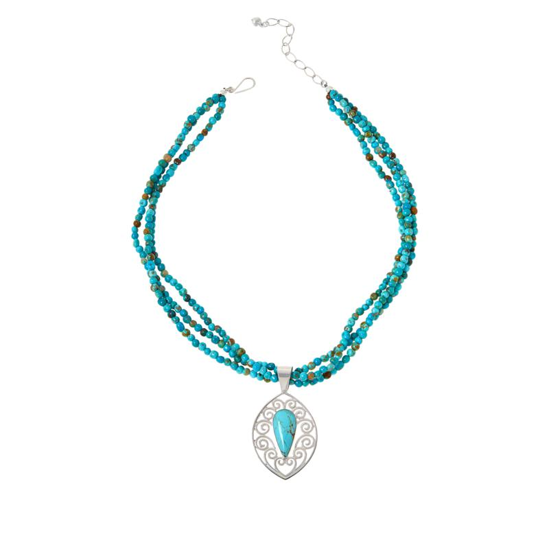 Jay King Sonoran Blue Turquoise Pendant with 3-Strand Bead Necklace