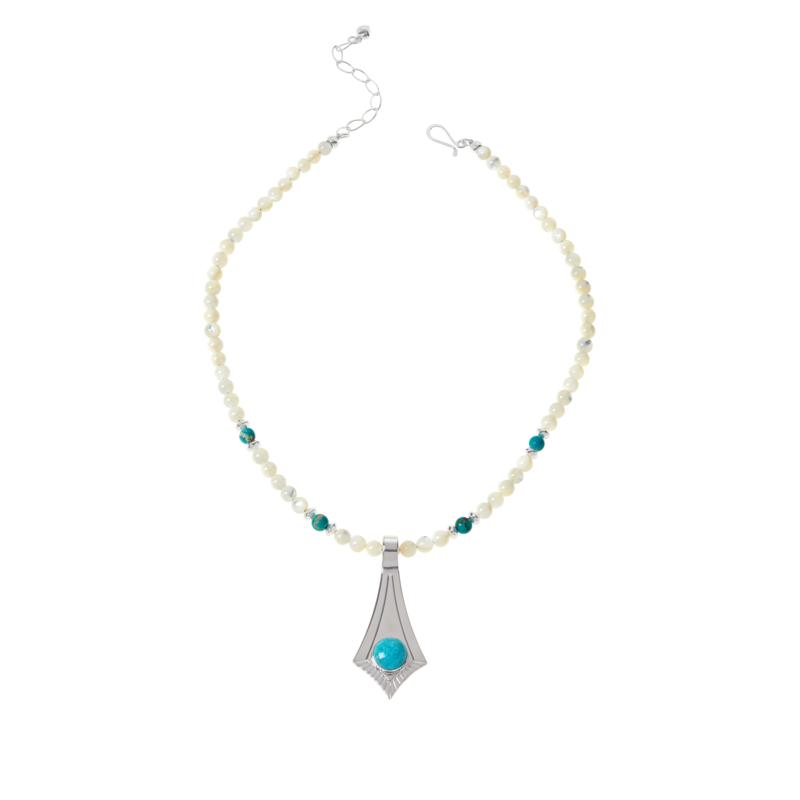 Jay King Sonoran Blue Turquoise Pointed Pendant with Bead Necklace