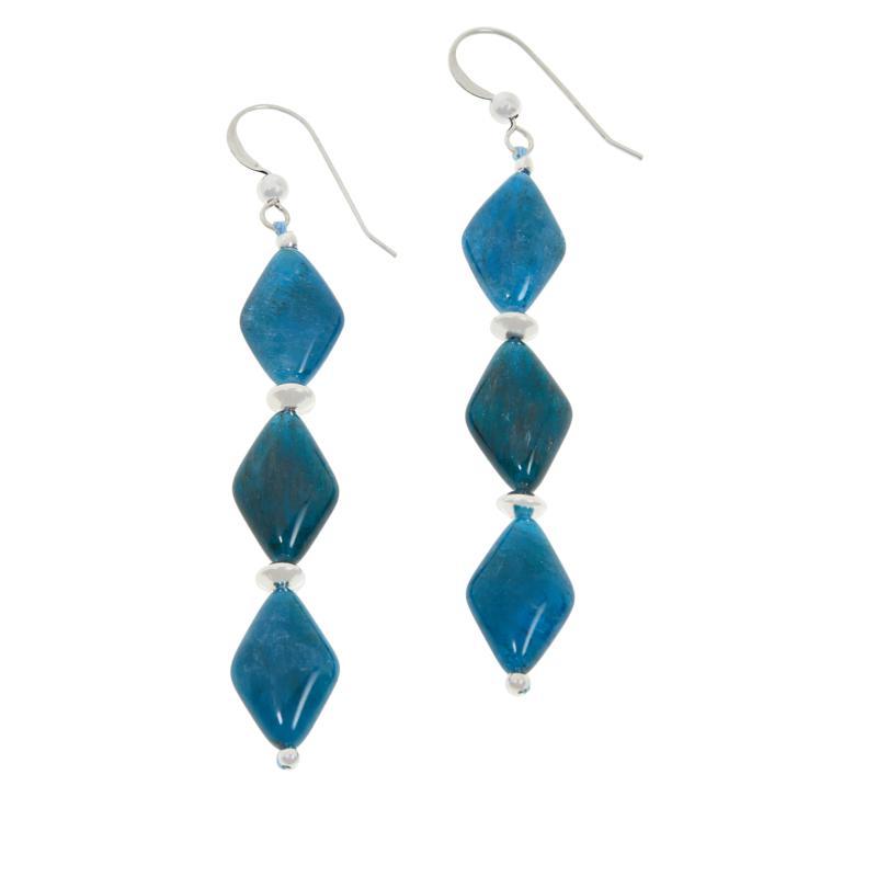 Jay King Sterling Silver 3-Stone Apatite Drop Earrings
