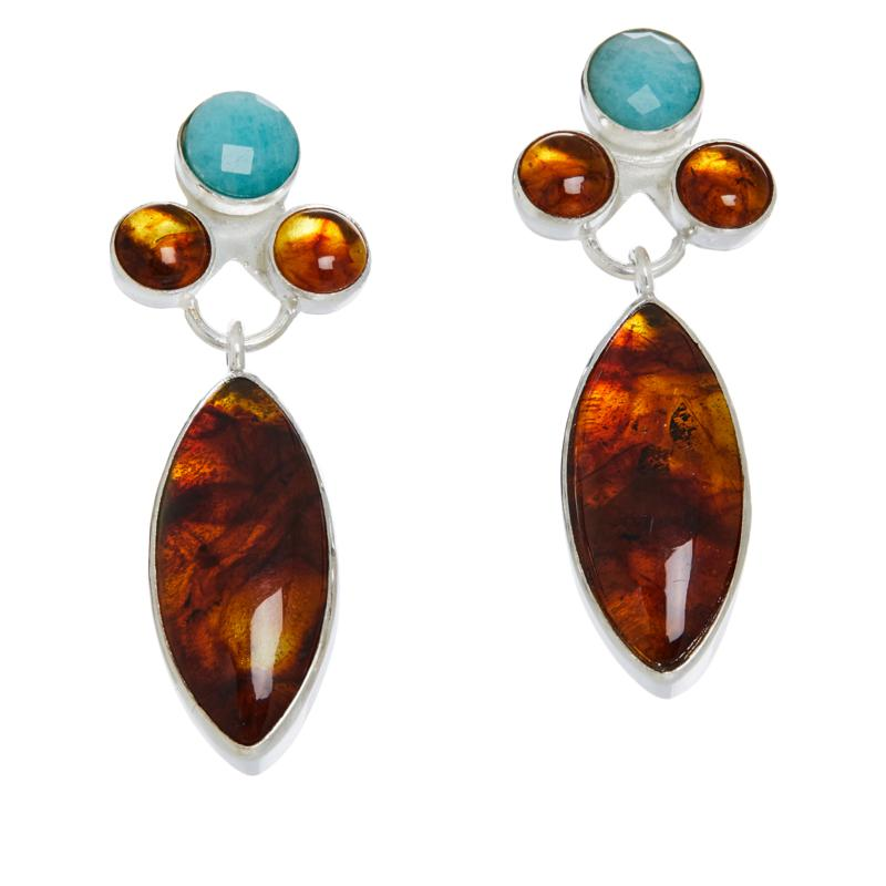 Jay King Sterling Silver Amber and Amazonite Earrings