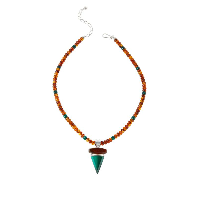Jay King Sterling Silver Amber and Malachite Pendant with Necklace