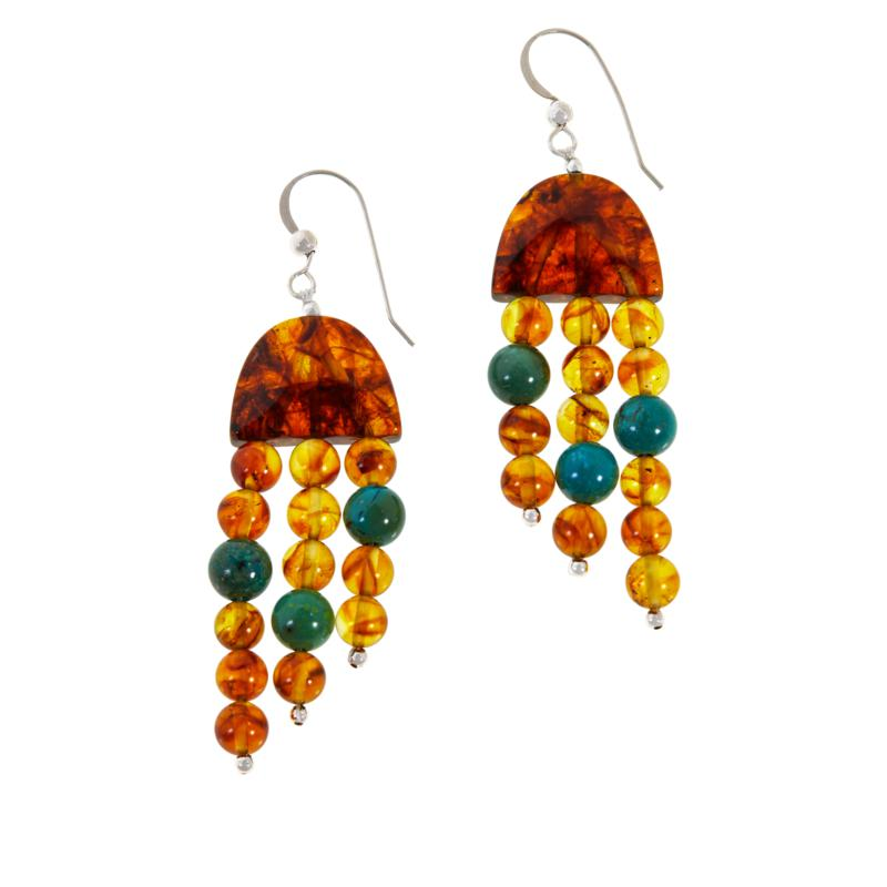 Jay King Sterling Silver Amber and Turquoise Drop Earrings