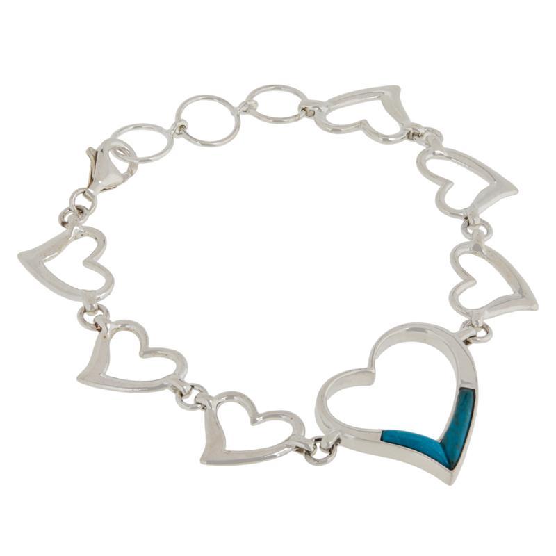 Jay King Sterling Silver Andean Turquoise Heart Link Bracelet
