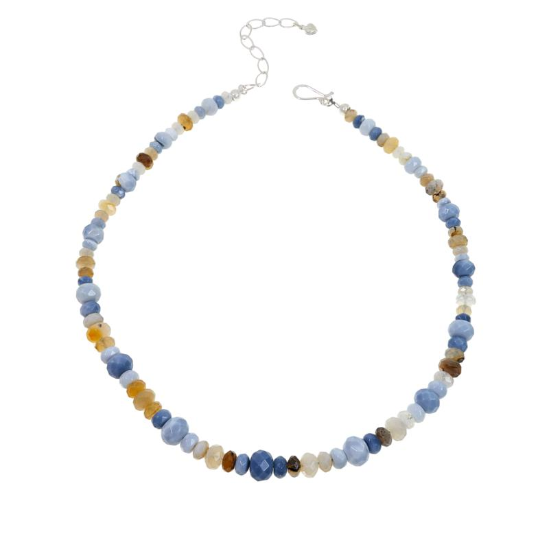 Jay King Sterling Silver Blue Opal and Multi-Color Agate Bead Necklace