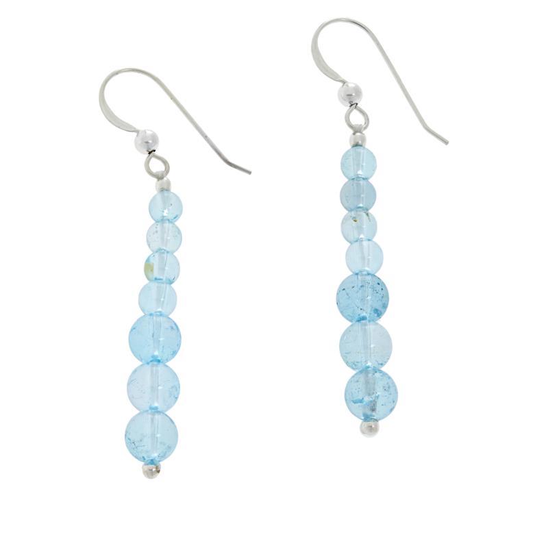 Jay King Sterling Silver Blue Topaz Bead Linear Drop Earrings