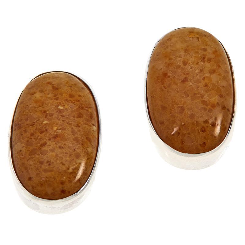 Jay King Sterling Silver Butterscotch Amber Oval Stud Earrings