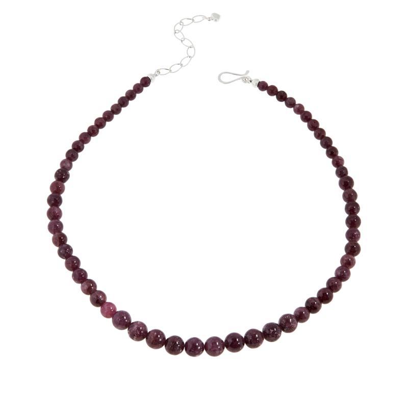 Jay King Sterling Silver Dark Pink Lepidolite Bead Necklace