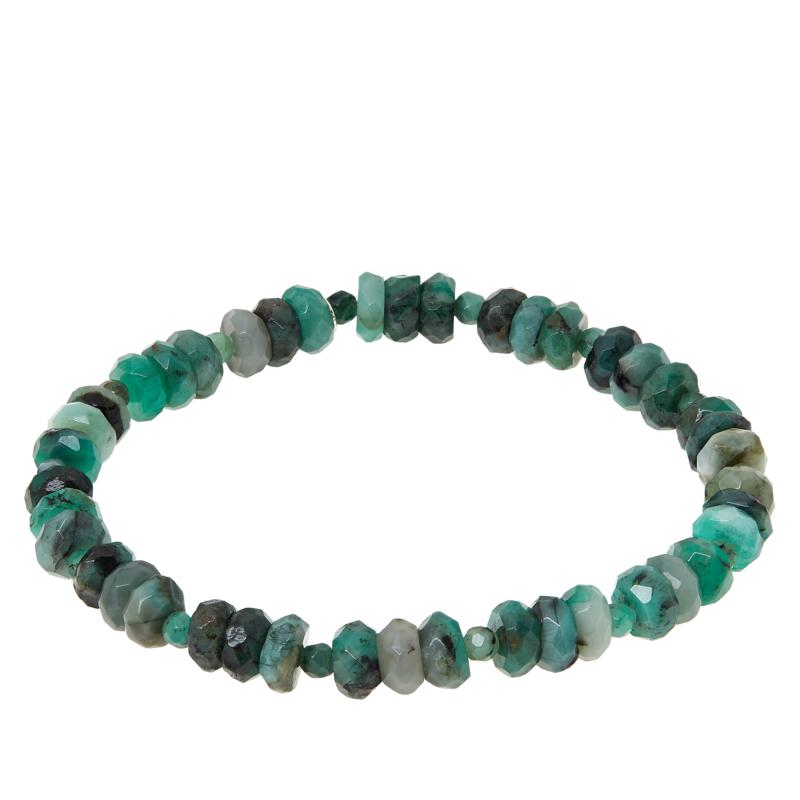 Jay King Sterling Silver Emerald Beaded Stretch Bracelet