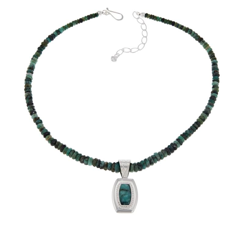 Jay King Sterling Silver Emerald Pendant and Beaded Necklace