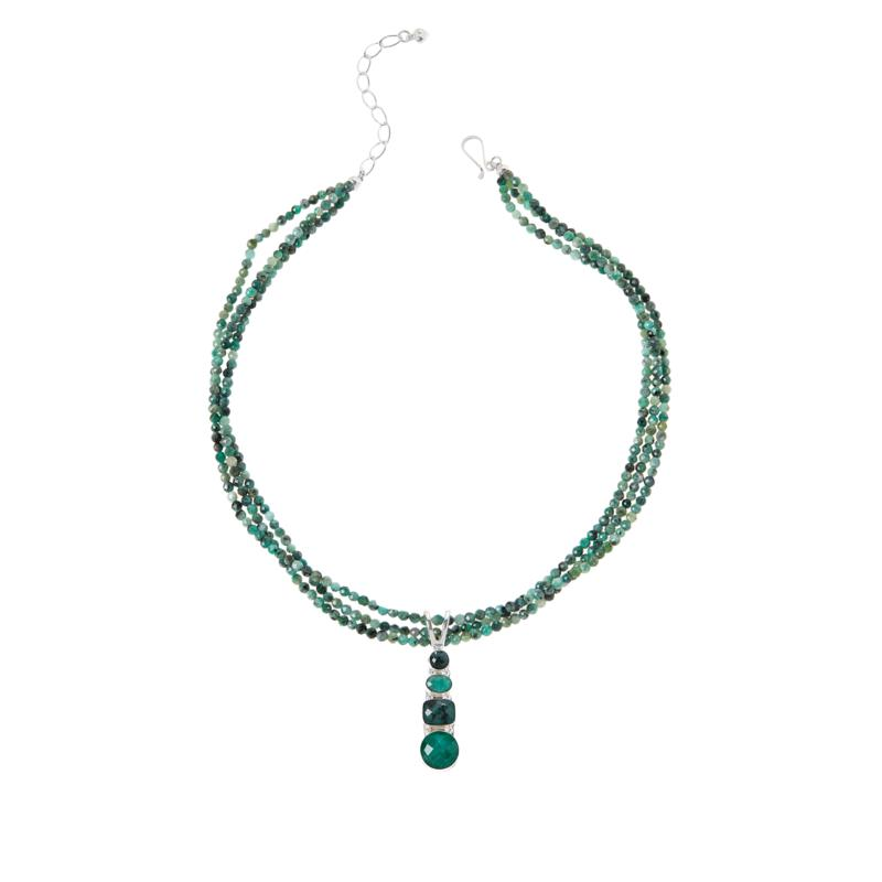 Jay King Sterling Silver Emerald Pendant with 3-Strand Necklace