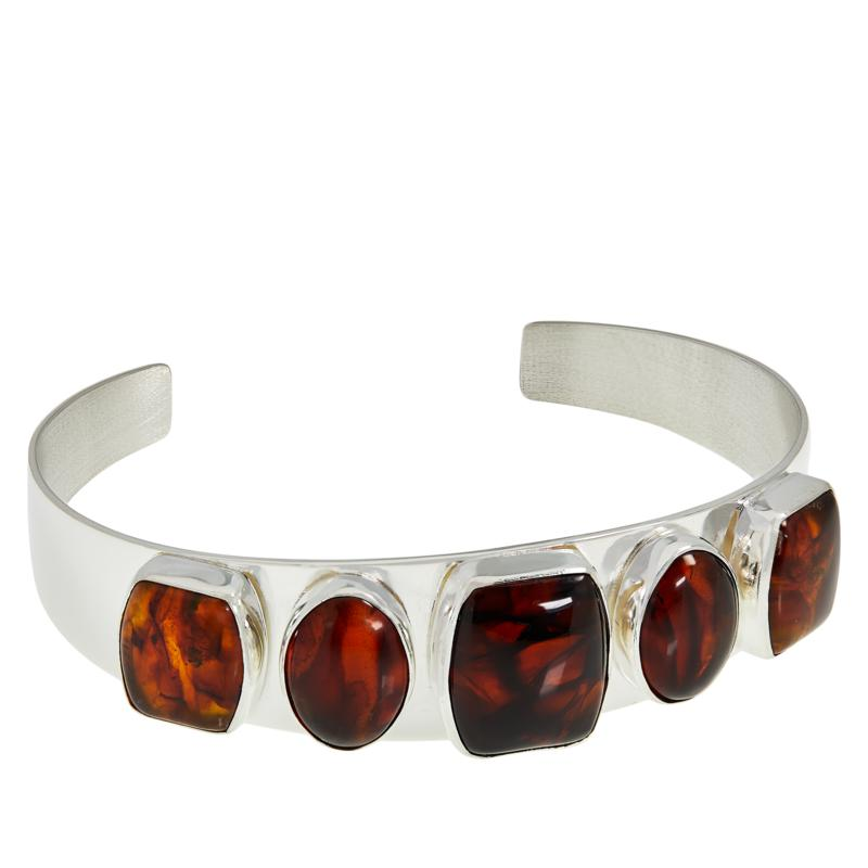 Jay King Sterling Silver Golden Brown Amber Cuff