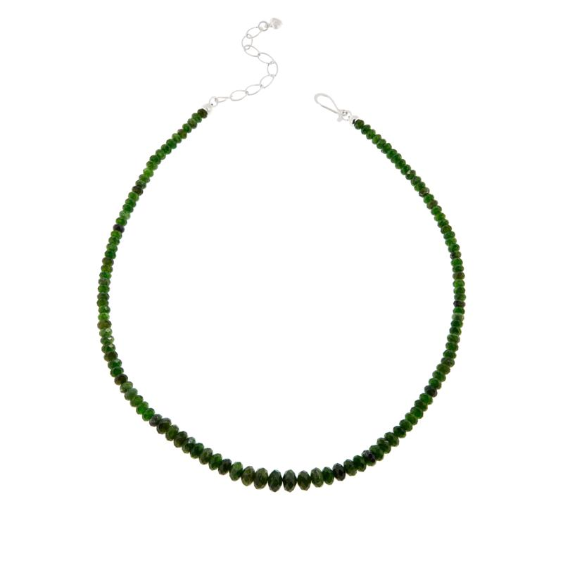 Jay King Sterling Silver Green Chrome Diopside Graduated Bead Neckl...