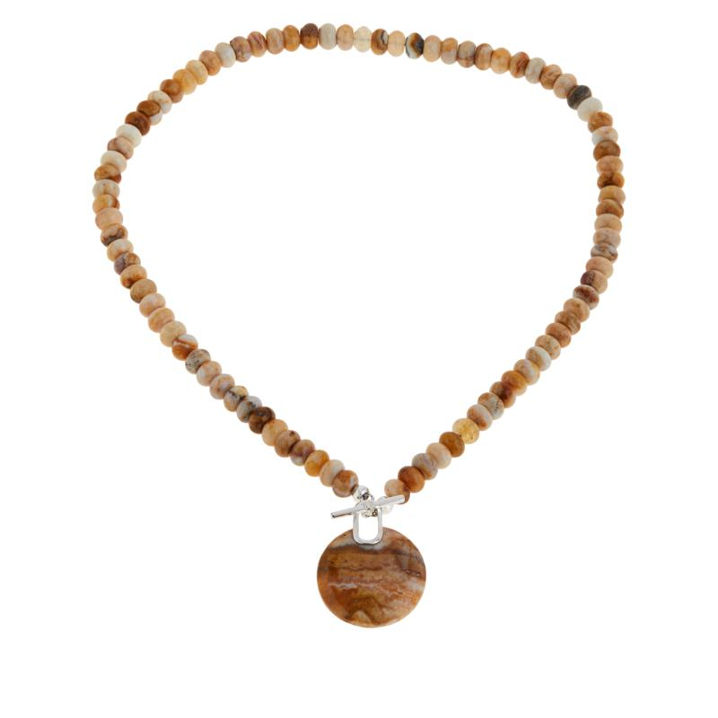 Jay King Sterling Silver Java Lace Agate Toggle Necklace