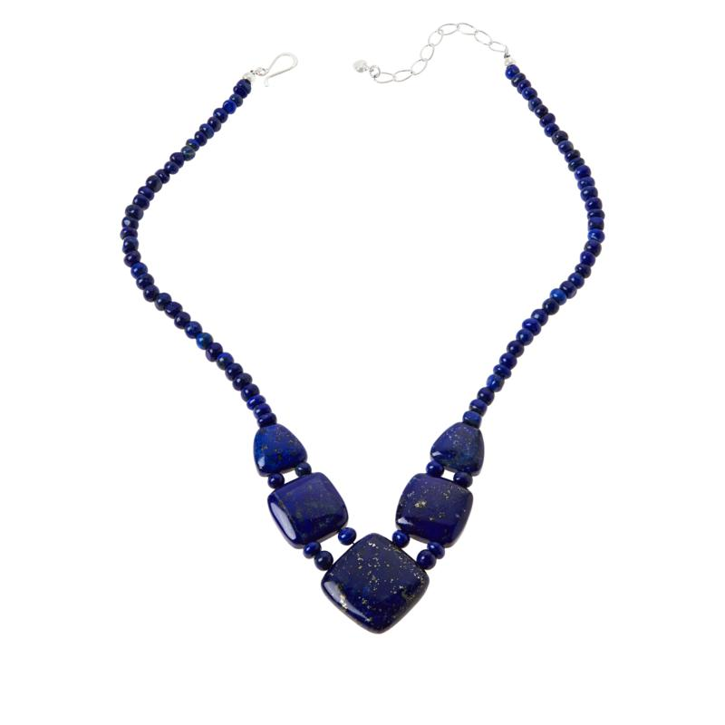 Jay King Sterling Silver Lapis Square Station Necklace