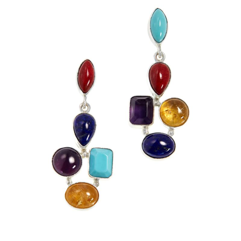 Jay King Sterling Silver Multi-Color Multi-Gem Abstract Drop Earrings