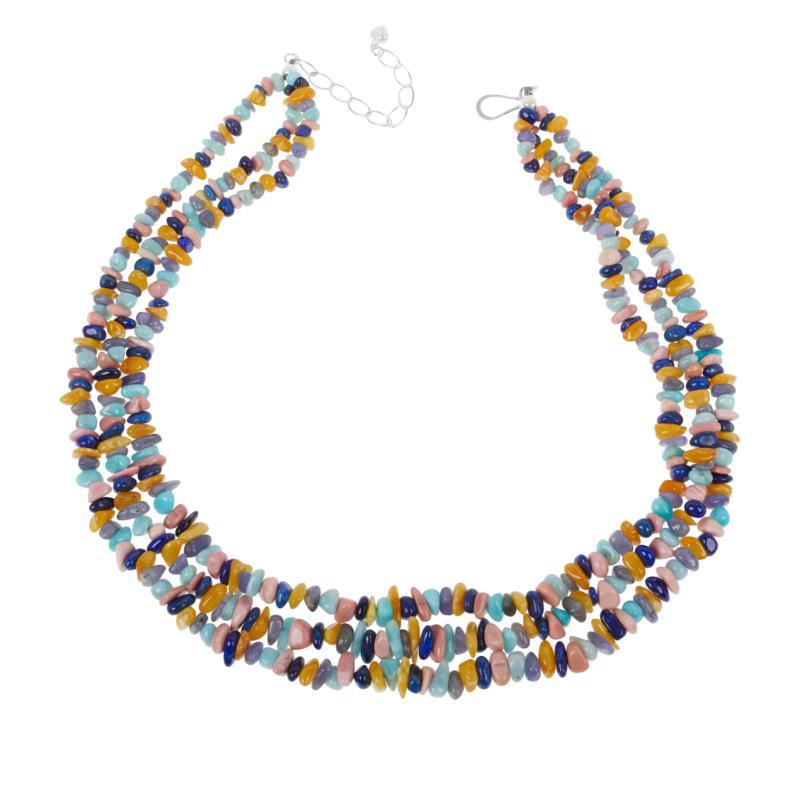 Jay King Sterling Silver Multi-Color Multi-Gemstone 3-Strand Necklace