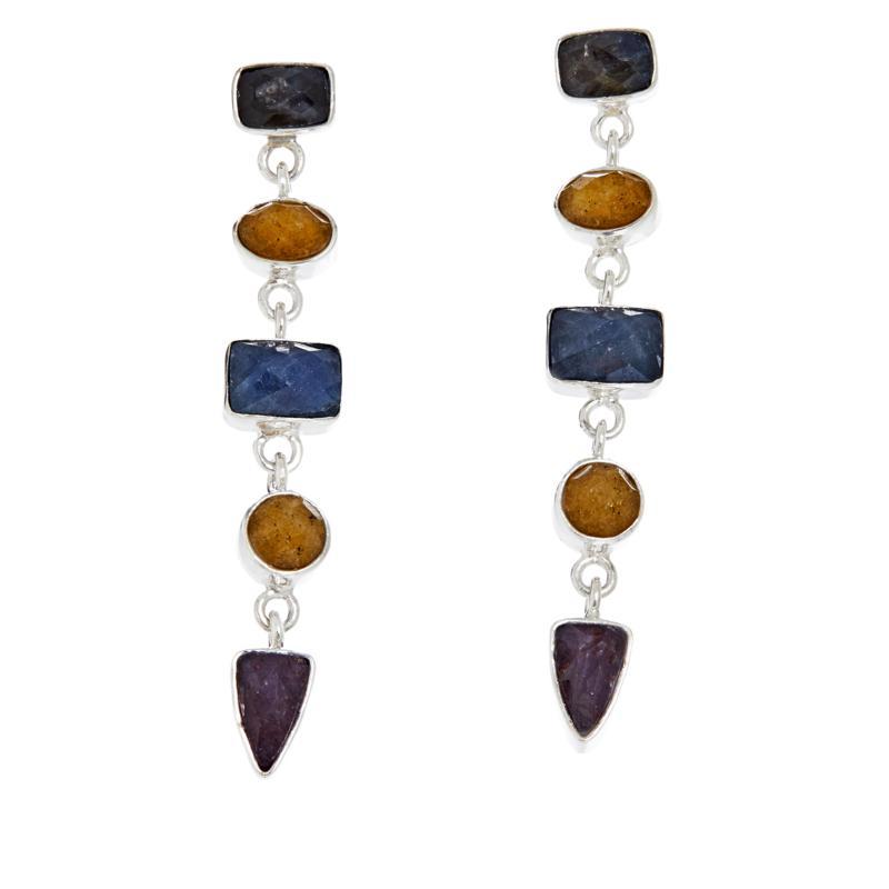 Jay King Sterling Silver Multi-Color Sapphire Drop Earrings