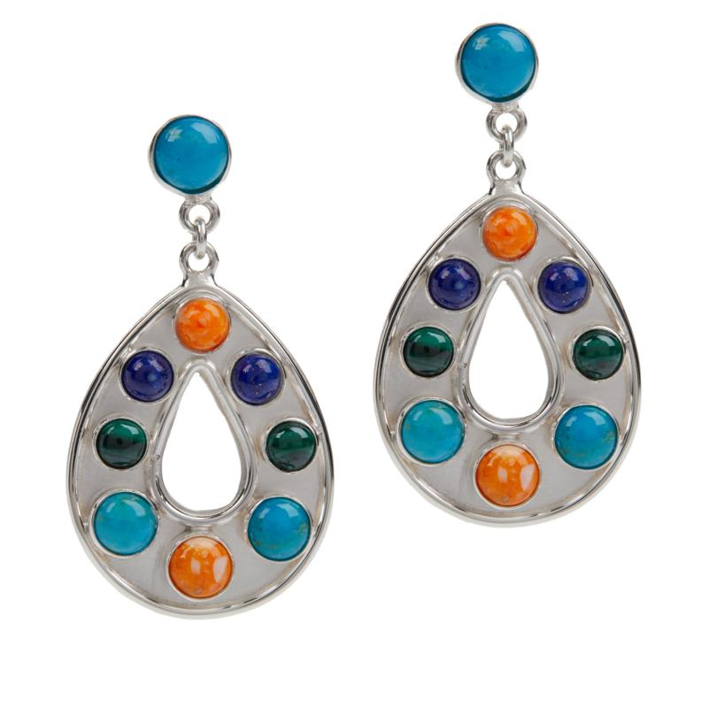Jay King Sterling Silver Multi-Gemstone Teardrop Earrings