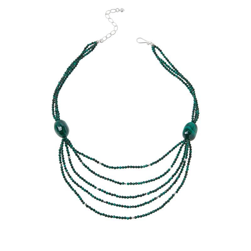 Jay King Sterling Silver Multi-Strand Malachite Bead Necklace