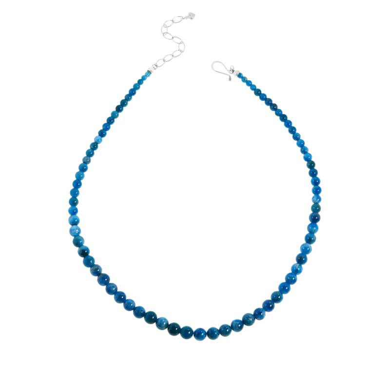 Jay King Sterling Silver Neon Blue Apatite Bead Necklace
