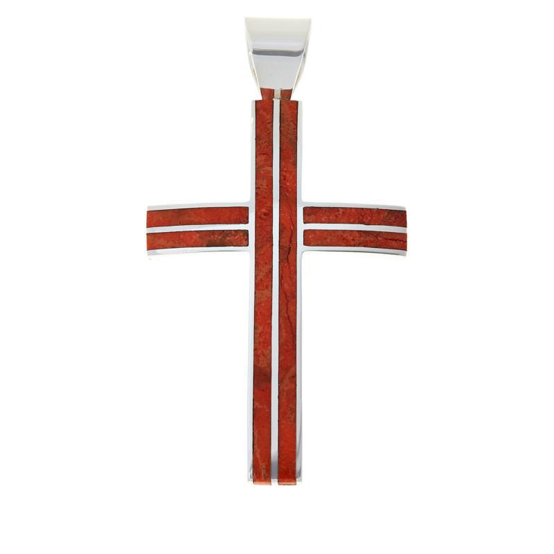 Jay King Sterling Silver Orange Coral Cross Pendant