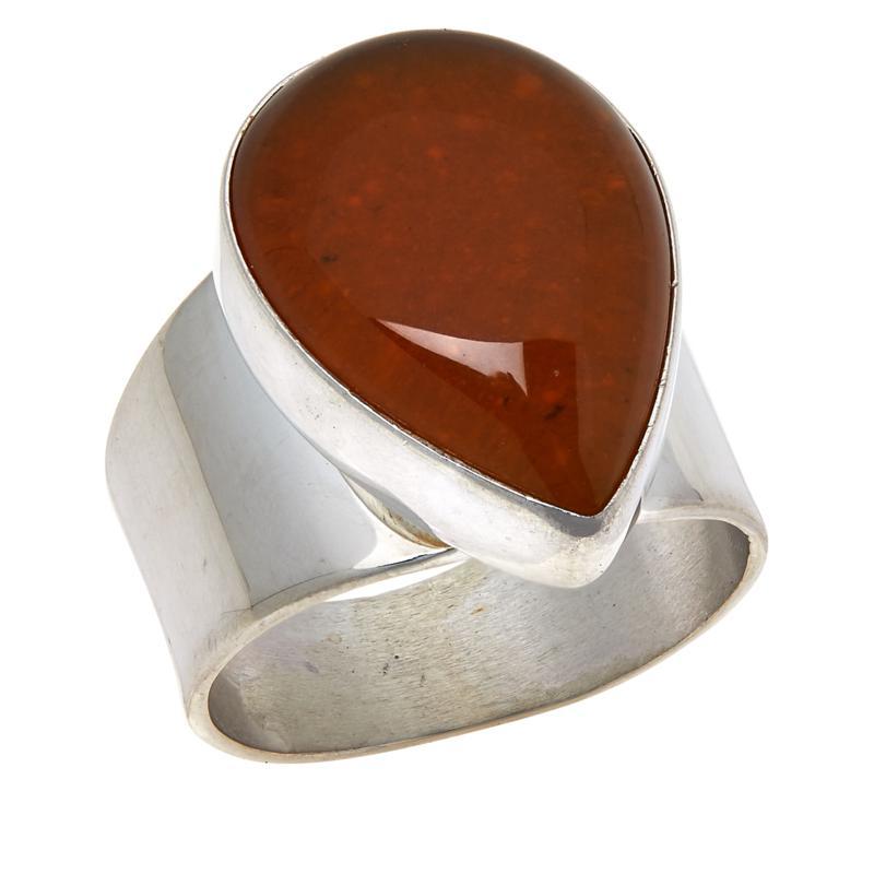 Jay King Sterling Silver Orange Jelly Opal Pear-Shape Ring