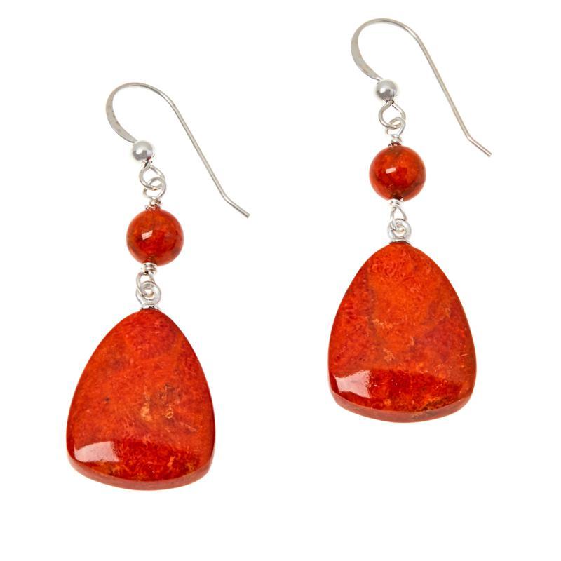 Jay King Sterling Silver Orange-Red Coral Drop Earrings